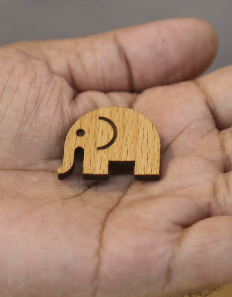 Elephant wooden Brooch