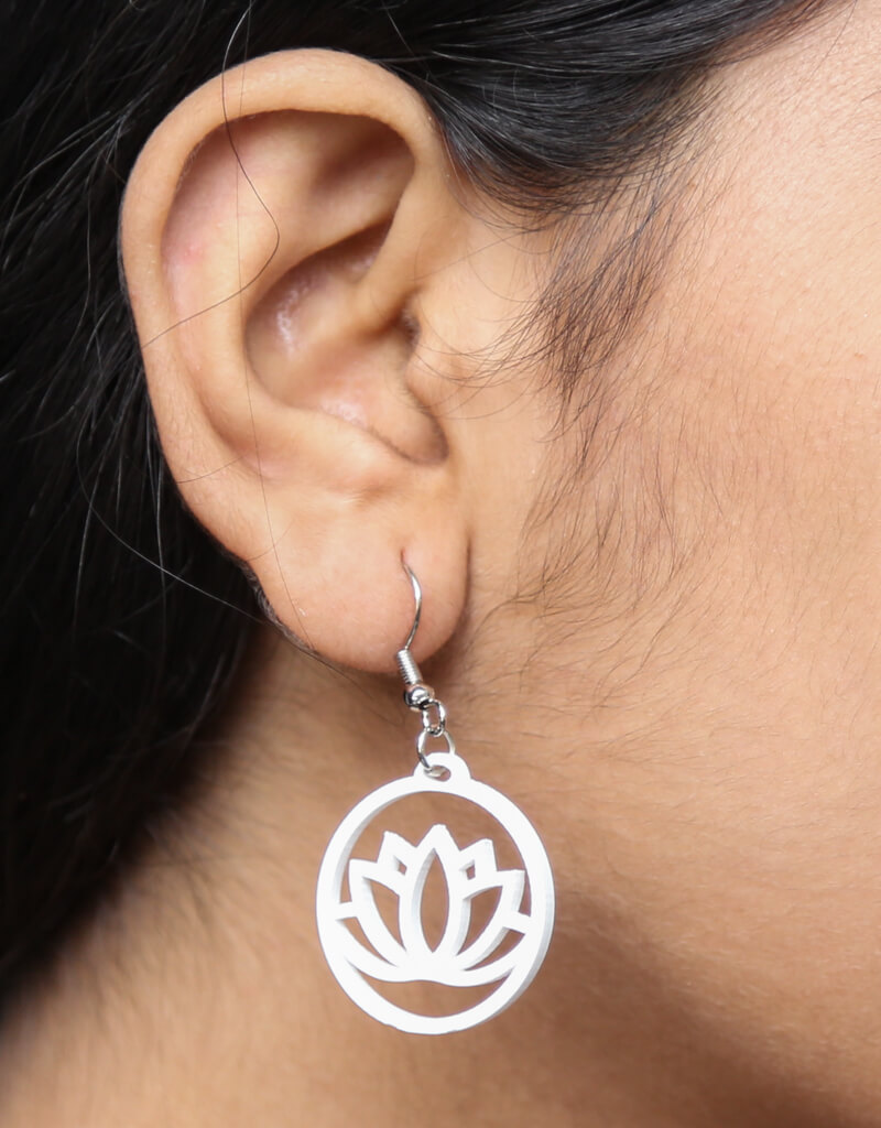 Lotus Acrylic Hanging Earring White