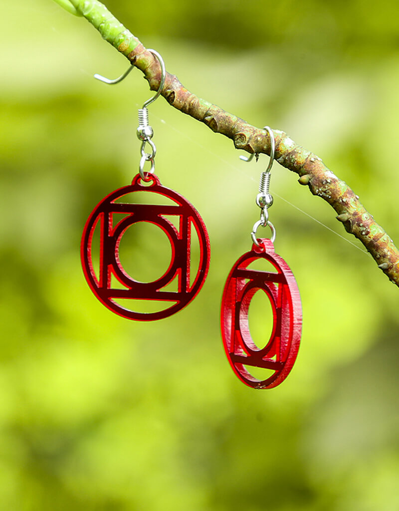 Yantra Acrylic Earring Red